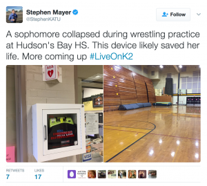 KATU's Stephen Mayer reports: Zoll AED Saves the life of a Sophomore athlete, Feb 2, 2017